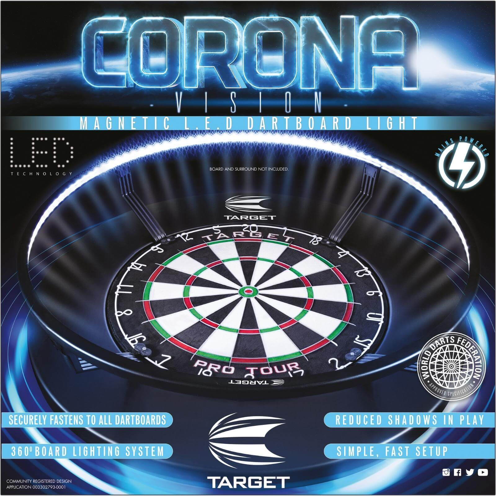 Dartboard Accessories - Target - Corona Vision LED Dartboard Light
