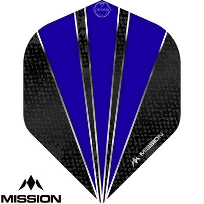 Dart Flights - Mission - Flare - Big Wing Dart Flights Dark Blue