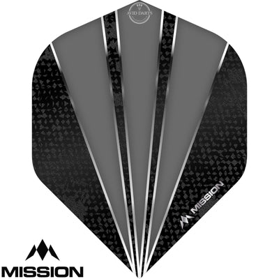 Dart Flights - Mission - Flare - Big Wing Dart Flights Grey