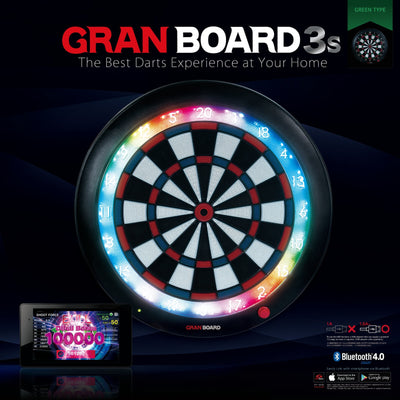 Dartboards - Gran Darts - Gran Board 3s - Bluetooth Electronic LED Soft Tip Dartboard - Green