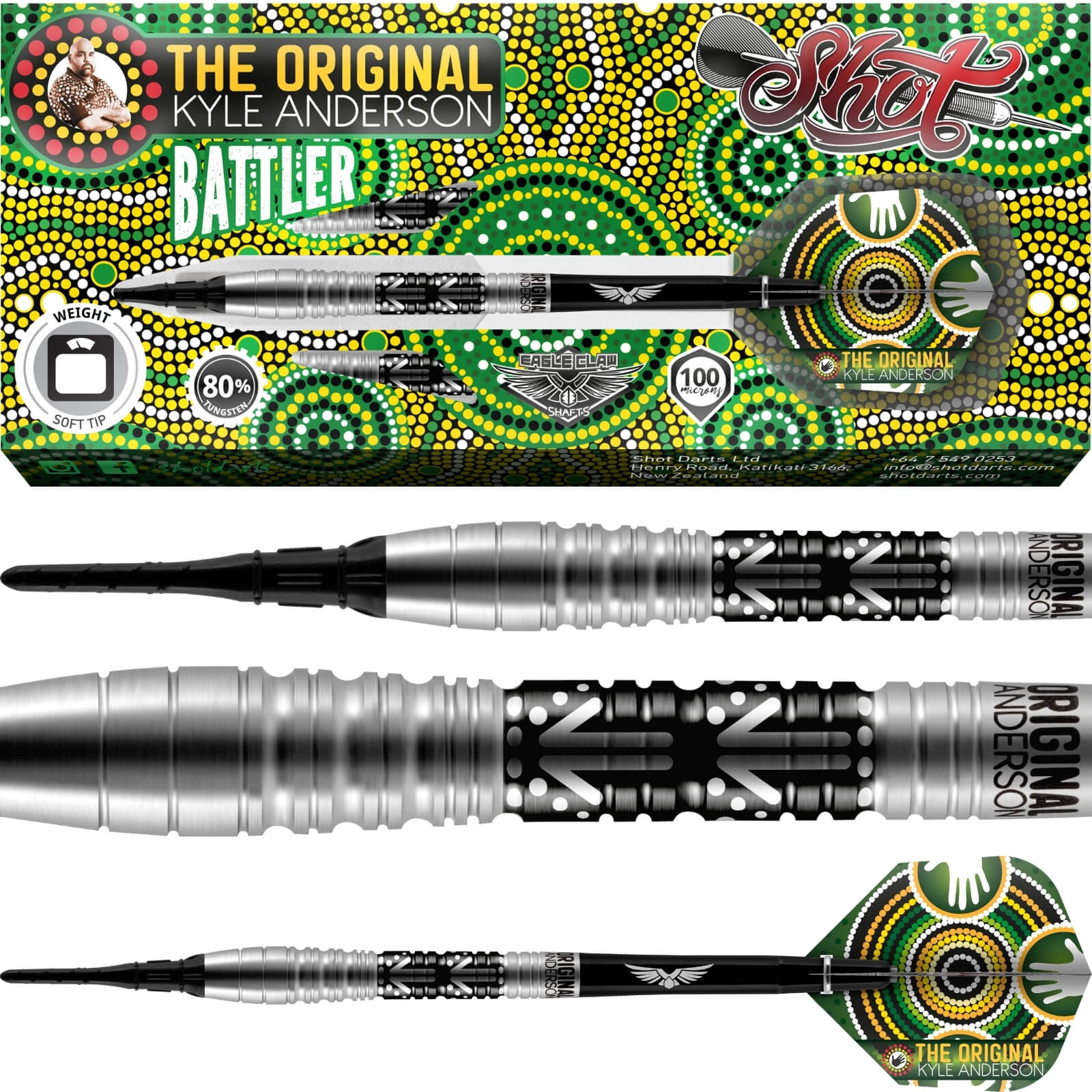 Darts - Shot - Kyle Anderson Battler Darts - Soft Tip - 80% Tungsten - 18g 20g