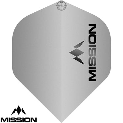 Dart Flights - Mission - Logo Matt - Big Wing Dart Flights Silver