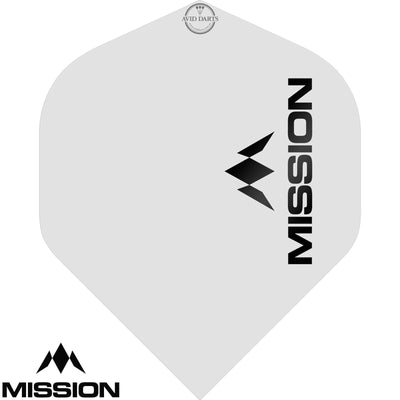 Dart Flights - Mission - Logo Matt - Big Wing Dart Flights White
