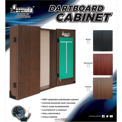 Dartboard Accessories - Formula Sports - Plain MDF Dartboard Cabinet - Black, Mahogany, Walnut