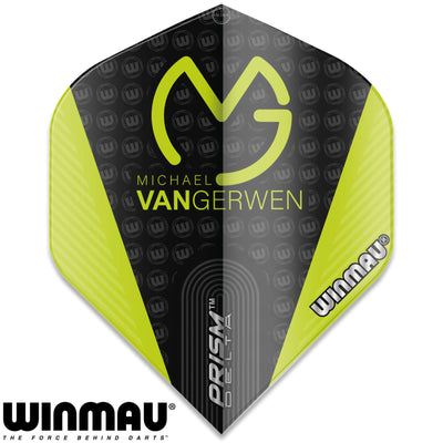 Dart Flights - Winmau - MvG Prism Delta - Big Wing Dart Flights Black and Green
