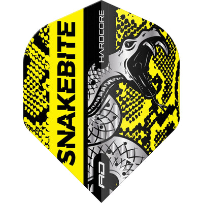 Dart Flights - Red Dragon - Hardcore Peter Wright Coiled Snake - Standard Dart Flights Yellow
