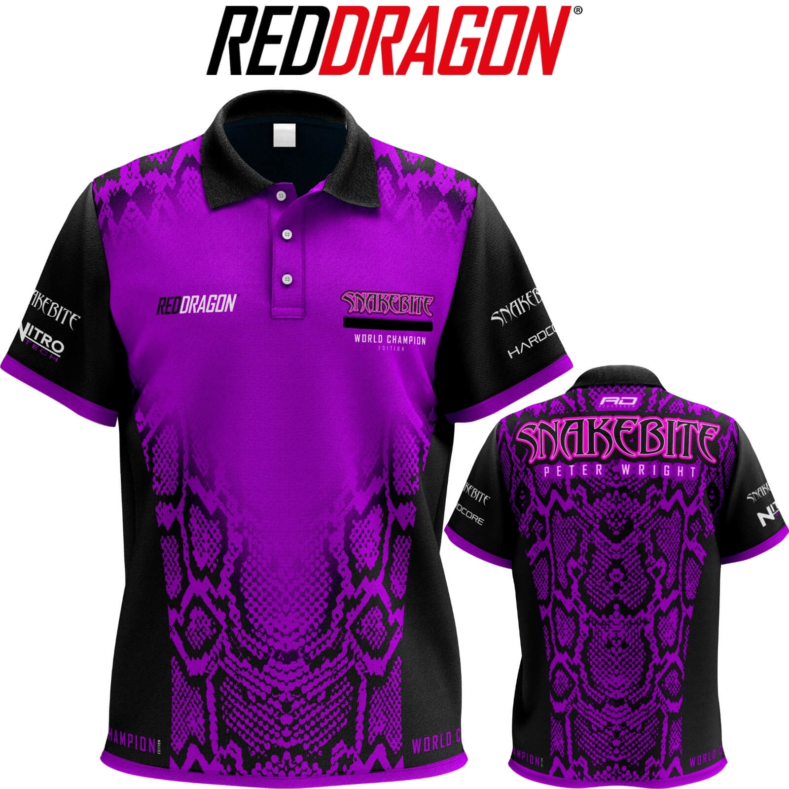 Dart Shirts - Red Dragon - Snakebite World Champion Edition Tour Dart Shirt - S to 3XL