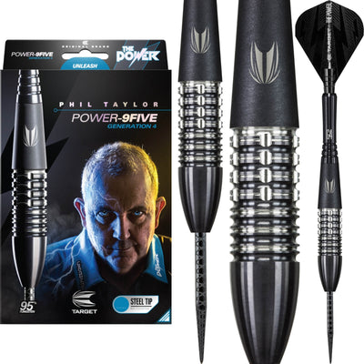 Darts - Target - Phil Taylor Power 9FIVE Gen 4 Darts - Steel Tip - 95% Tungsten - 22g 24g 26g