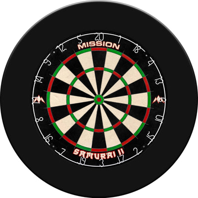 Dartboards - Mission - Samurai II Dartboard & Plain Surround Package Black