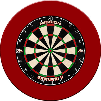 Dartboards - Mission - Samurai II Dartboard & Plain Surround Package Red