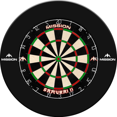 Dartboards - Mission - Samurai II Dartboard & Printed Surround Package Black