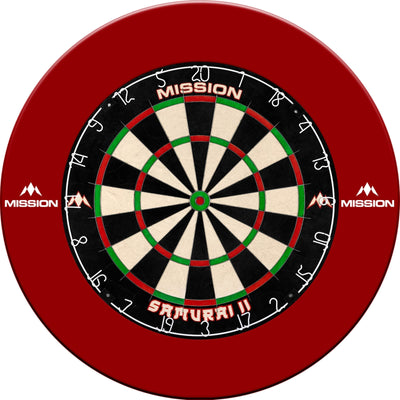 Dartboards - Mission - Samurai II Dartboard & Printed Surround Package Red
