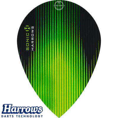 Dart Flights - Harrows - Sonic - Pear Dart Flights Green