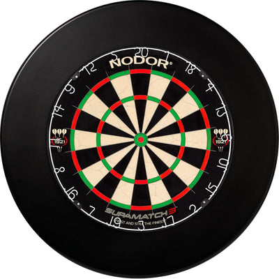 Dartboards - Nodor - Supamatch 3 Dartboard & Winmau Surround Package Plain Black