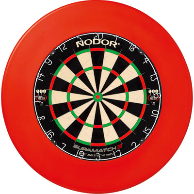 Dartboards - Nodor - Supamatch 3 Dartboard & Winmau Surround Package Plain Red