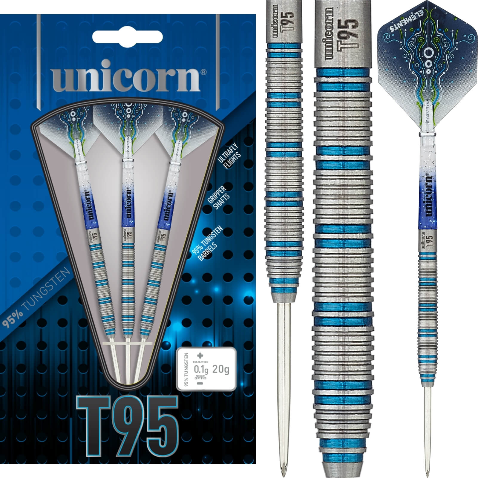 Darts - Unicorn - T95 Core XL Blue Type 1 Darts - Steel Tip - 95% Tungsten - 20g 22g 24g