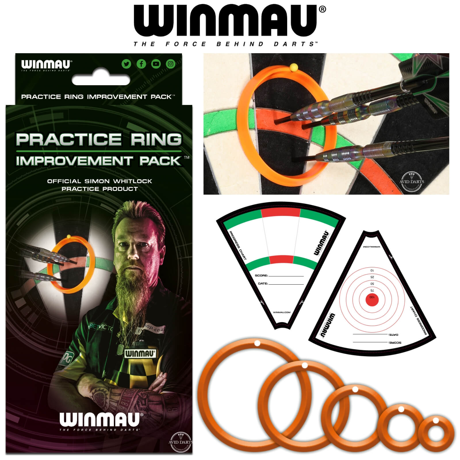 Training Accessories - Winmau - Simon Whitlock Darts Practice Ring Improvement Pack
