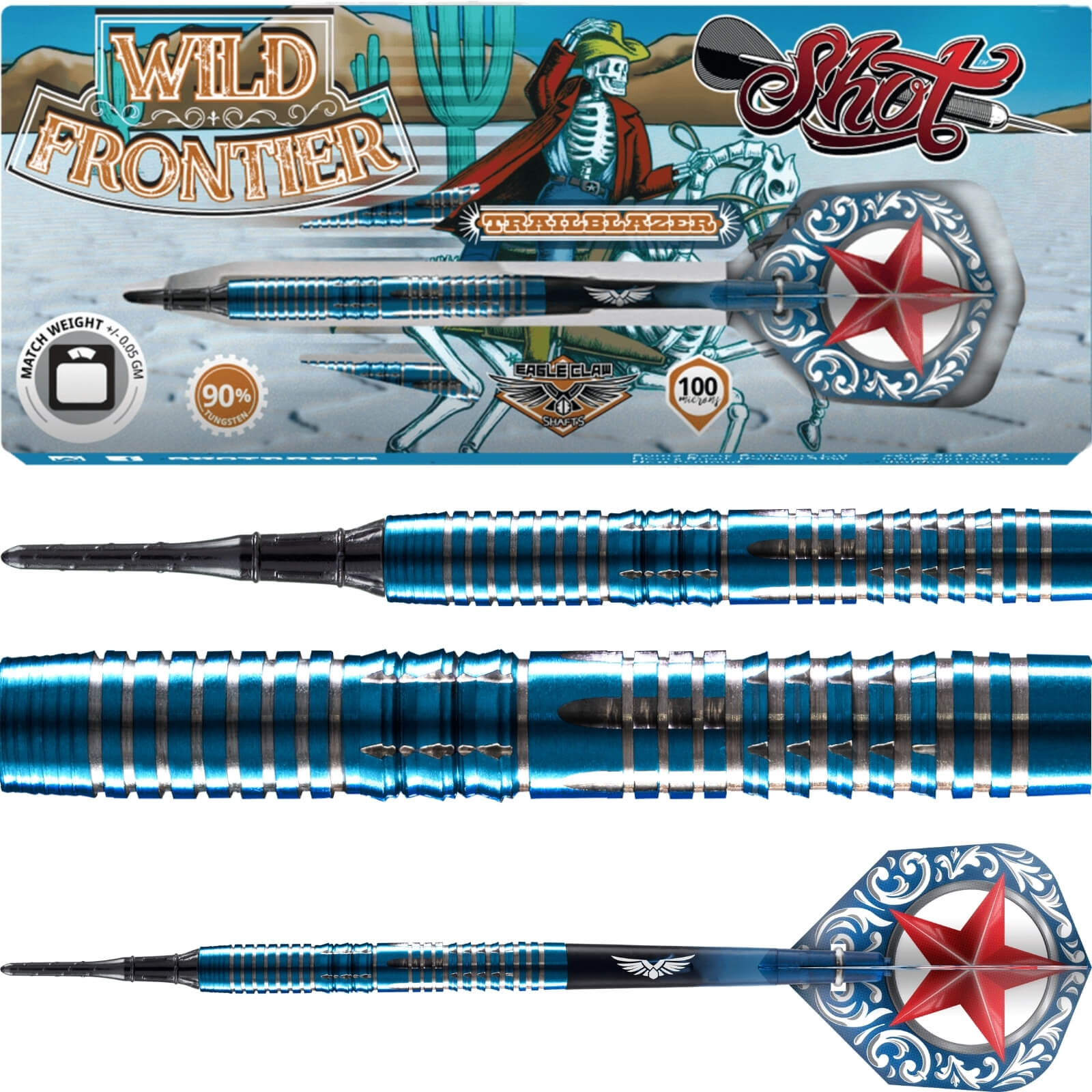 Darts - Shot - Wild Frontier Trailblazer Darts - Soft Tip - 90% Tungsten - 16g 18g 20g