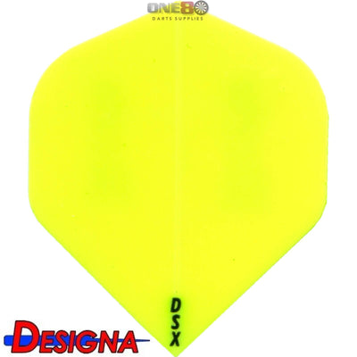 DESIGNA Darts - Flights - DSX Plain Colour Big Wing Flights - Yellow