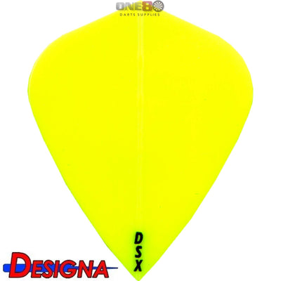 Dart Flights - Designa - DSX Plain Colour - Kite Dart Flights Yellow