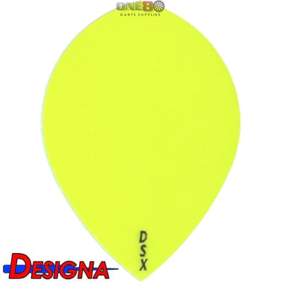 Dart Flights - Designa - DSX Plain Colour - Pear Dart Flights Yellow