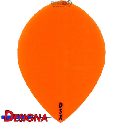 Dart Flights - Designa - DSX Plain Colour - Pear Dart Flights Orange