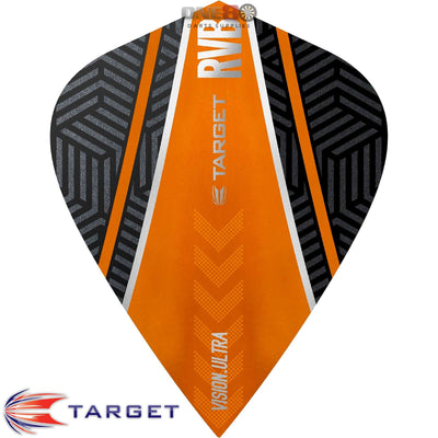 Dart Flights - Target - Raymond Van Barneveld RvB - Kite Dart Flights Curved Orange
