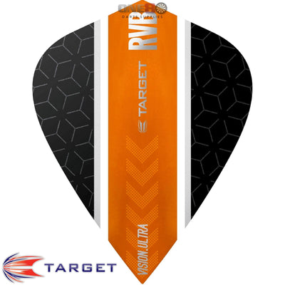 Dart Flights - Target - Raymond Van Barneveld RvB - Kite Dart Flights Straight Orange