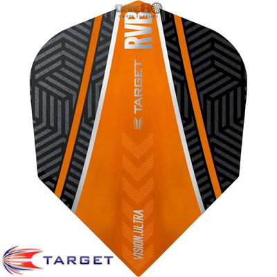 Dart Flights - Target - Raymond Van Barneveld RvB - Standard Dart Flights Curved Orange