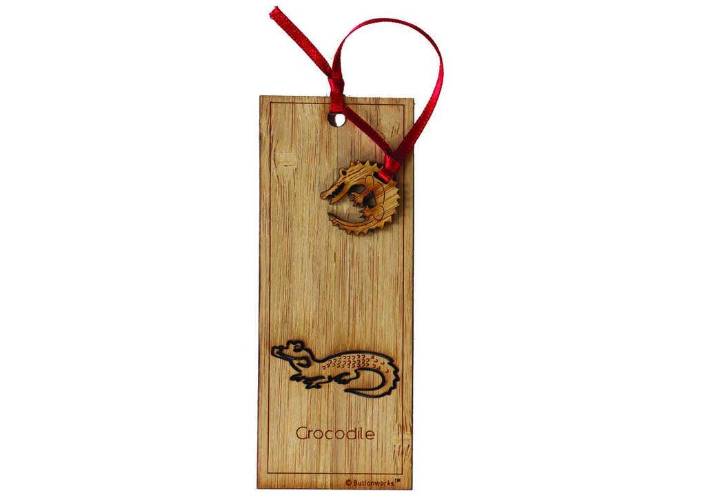 Buttonworks Crocodile wooden bookmark