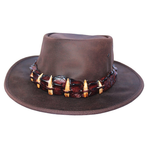 Crocodile skin and teeth hat