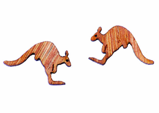 Buttonworks wooden Kangaroo stud earrings