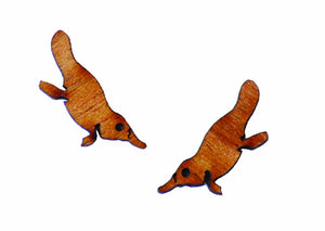 Buttonworks wooden Platypus stud earrings