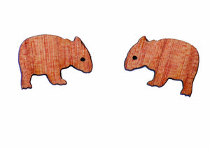 Buttonworks wooden Wombat stud earrings