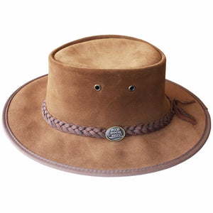 Suede Leather Foldaway Hat - Brown