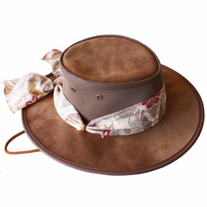 Ladies Suede cooler Hat - Brown