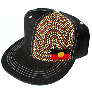 Aboriginal Flag and original dot artwork Cap - Black