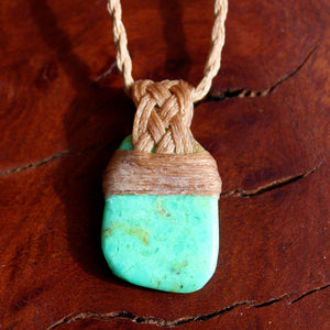 Polished Chrysoprase waxed cotton necklace