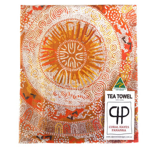 Australian made tea towel 'Circle of Life' by Coral Hayes Pananka