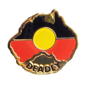 Aboriginal Flag badge map shape - Deadly
