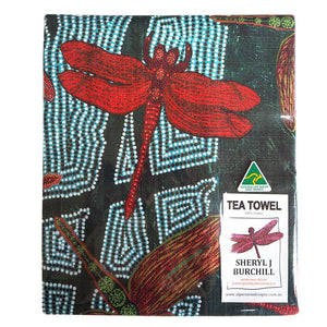 Australian Made Tea Towel 'Madja' (Rainforest) by Sheryl J Burchill