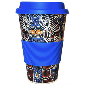 Dreamtime Sisters Bamboo cup by Colleen Wallace