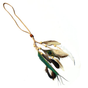 Feather Headband/Necklace Cream cord
