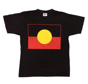 black T-shirt with australian aboriginal flag printed on the front, sizes sum,l,xl,xxl,xxxl