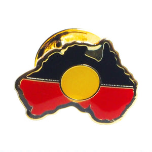 Aboriginal Flag badge map shape - large