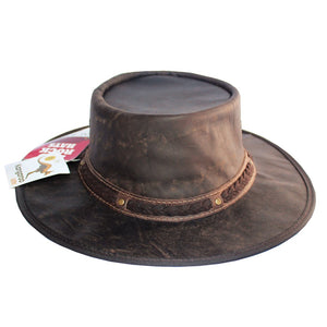Kangaroo Leather Foldaway Hat - Chocolate