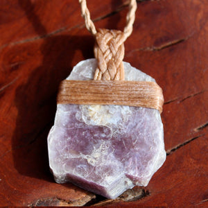 Raw Lepidolite waxed cotton necklace