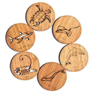 6 Round Wooden Australian Made Marine Coasters with different wood types available