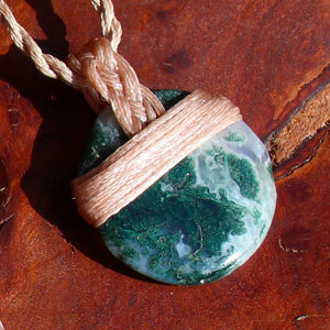 Polished Moss Agate waxed cotton necklace