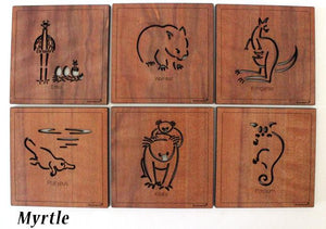 6 Square Wooden Australian Made Animal Coasters. 4 Different Woodtypes